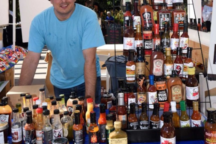 JR in Hot Sauce Booth